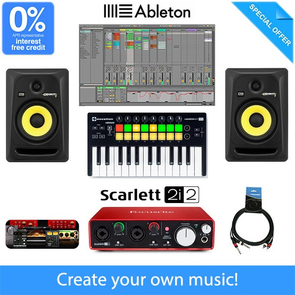 beginner home studio music production equipment package bundle. Black Bedroom Furniture Sets. Home Design Ideas