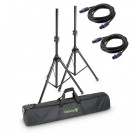 Gravity Set of 2 Aluminium Speaker Stands with carry case and 2 x 5 m speaker cables